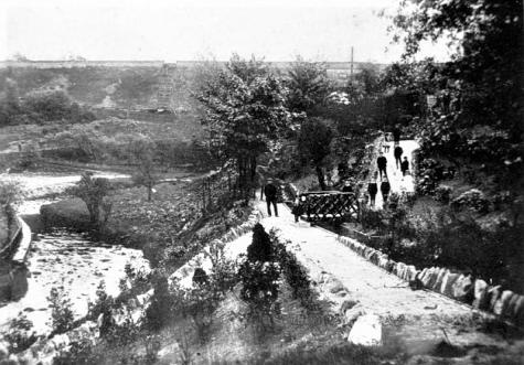 River And Rustic Bridge Circa 1909